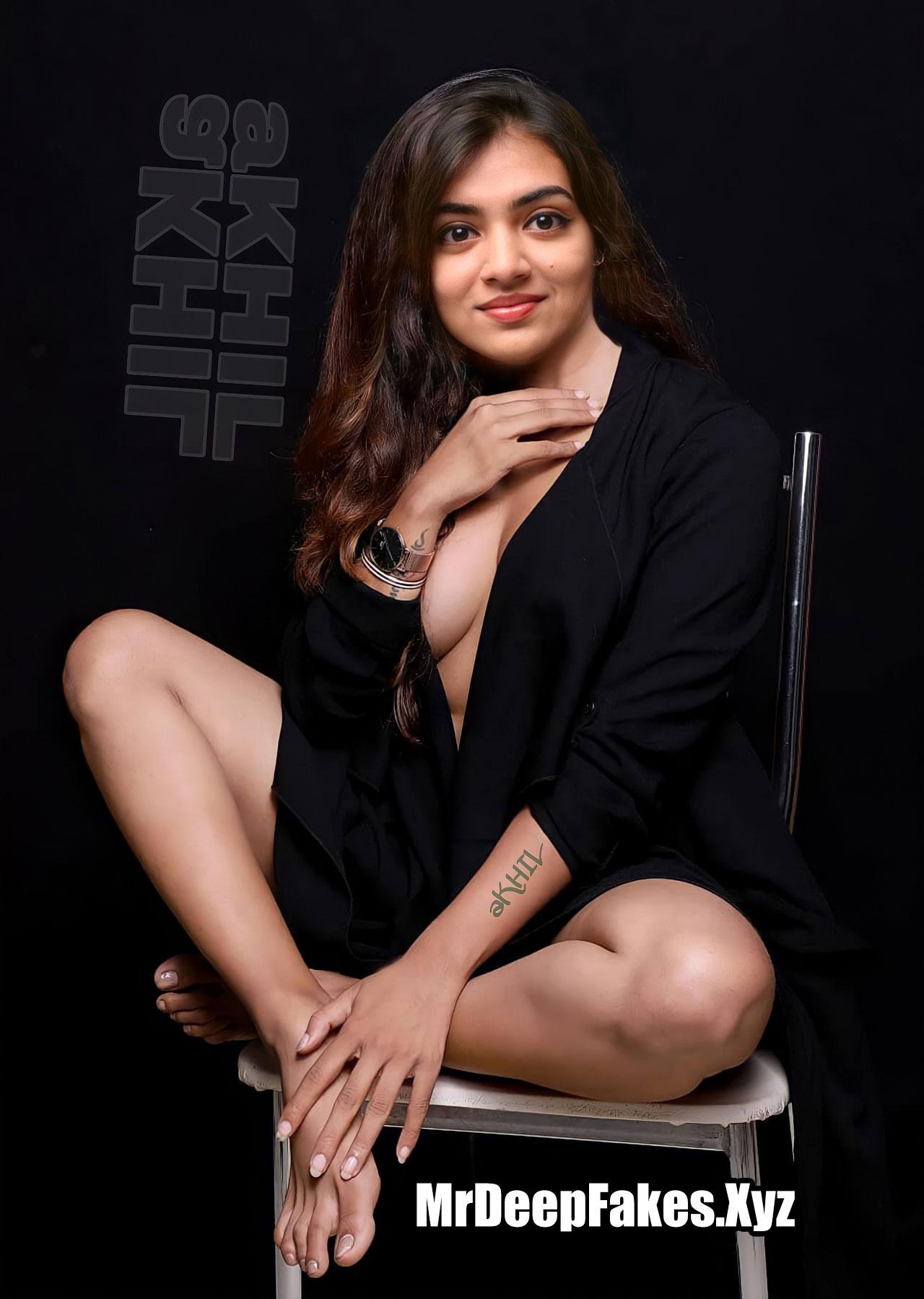 Nazriya Nude Boobs Xxx Fakes Without Bra Open Shirt