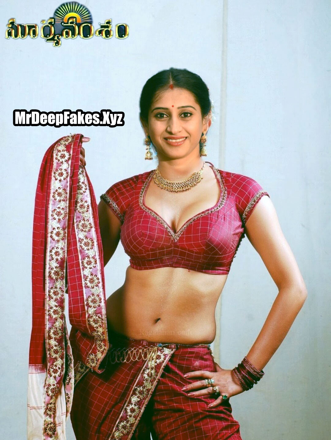 Meena Vasu hot low neck blouse nude navel without saree