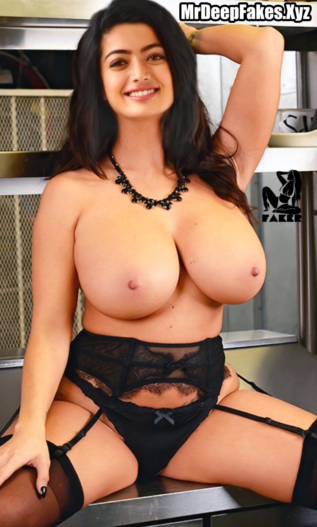 Rashmika Mandanna big fake boobs without bra black panties photo