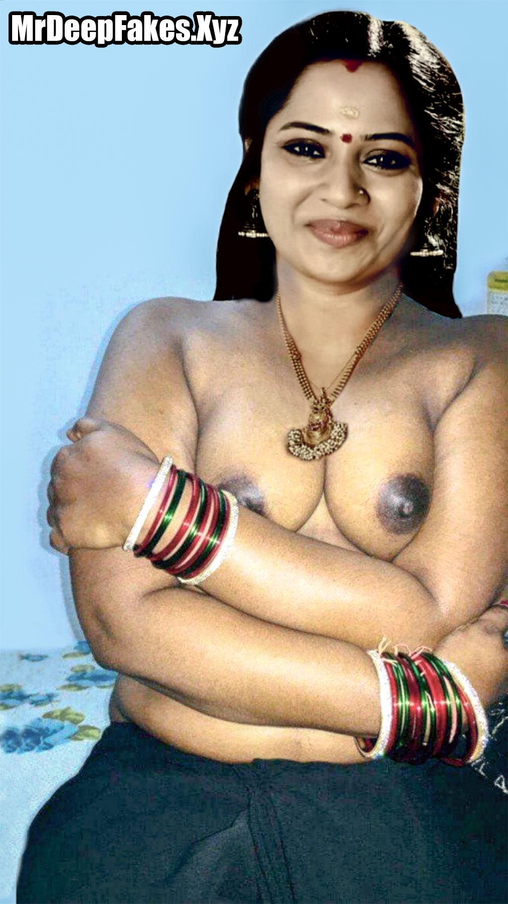 Tamil Selvi Small boobs black nipple Mouna ragam Serial Fame actress without blouse