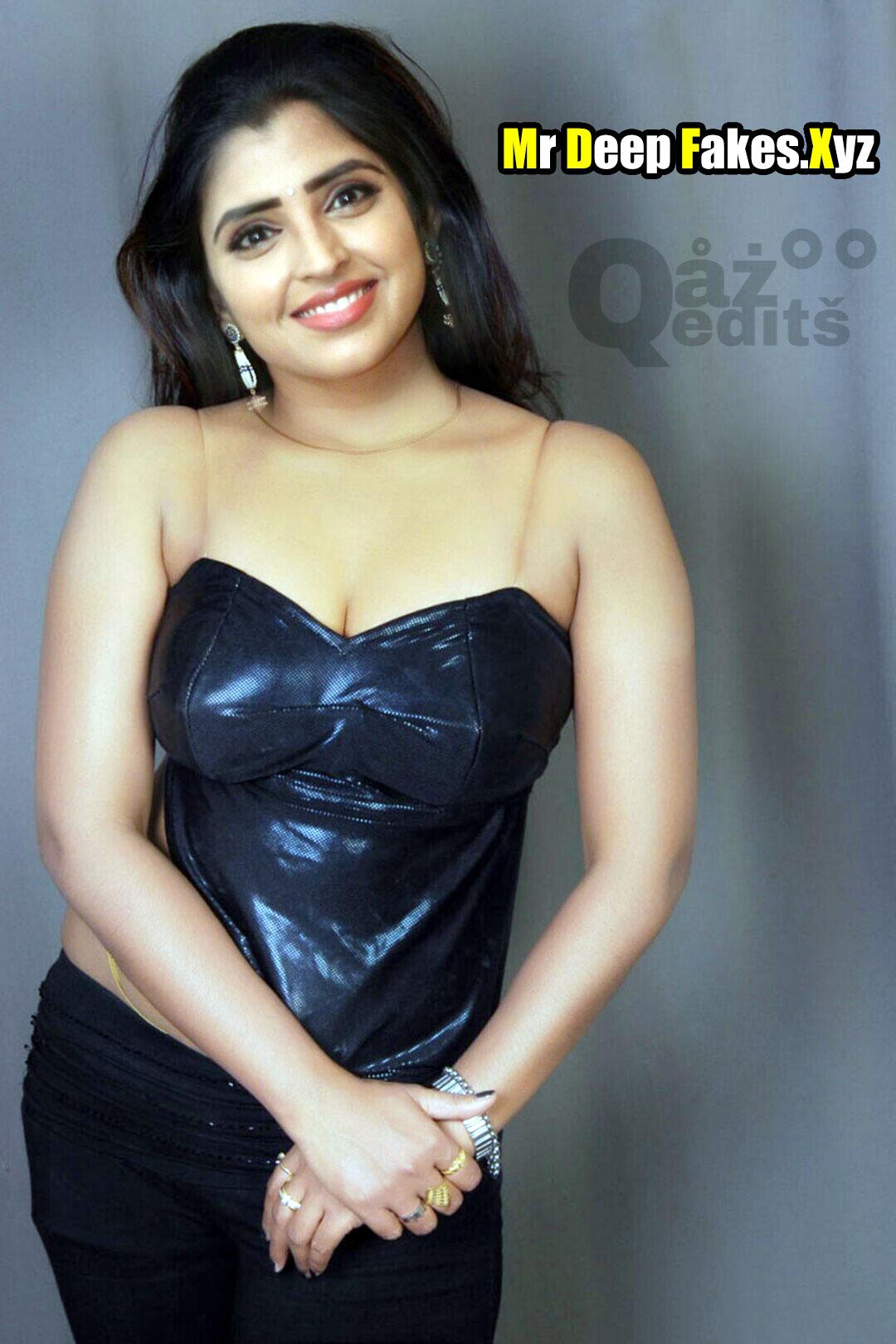 Anchor Syamala HOT sleeveless black blouse cleavage image