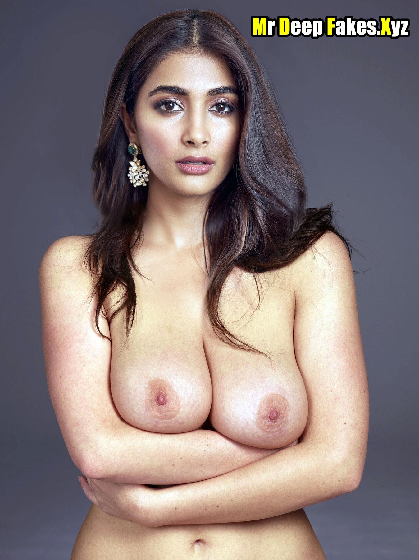 Heroine Pooja Hegde busty boobs nipple studio photoshoot without bra