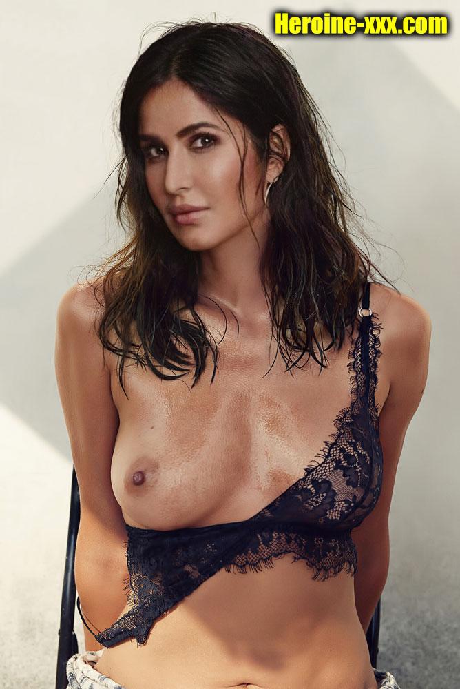 Katrina Kaif black bra stripped one side small boobs nipple image