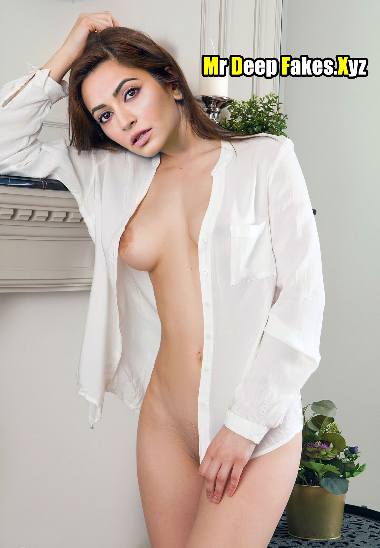 Kriti Kharbanda open shirt sexy slim body exposed image