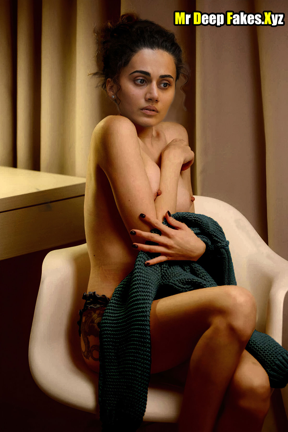 Taapsee Pannu topless small boobs nude nipple without bra image