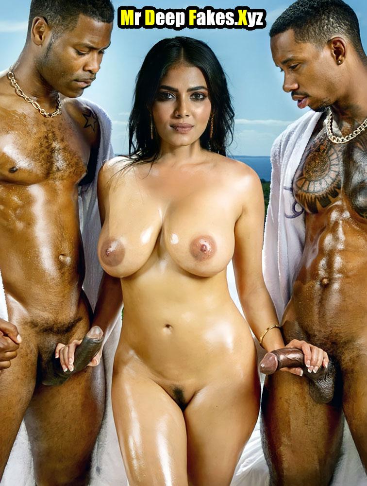 Malavika Mohanan handjob big black cock 3some nude image